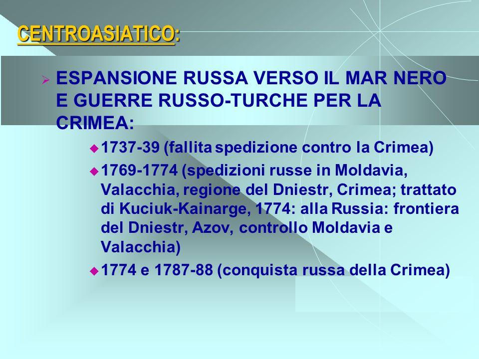 CENTROASIATICO: ESPANSIONE RUSSA VERSO IL MAR NERO E GUERRE RUSSO-TURCHE PER LA CRIMEA: 1737-39 (fallita spedizione contro la Crimea) 1769-1774 (spedi