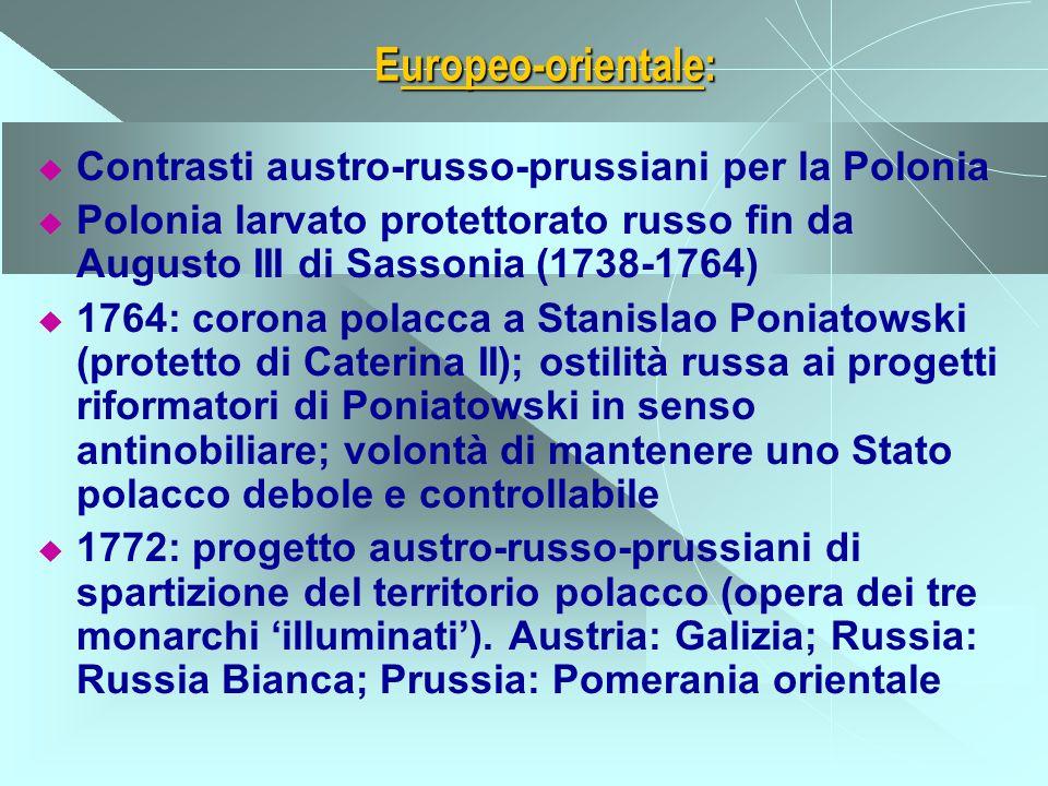 Diplomazia europea degli anni 50: Trattato franco-austriaco in funzione antiprussiana (1756); accedono Sassonia, Svezia, Russia Trattato anglo-prussiano a tutela dellHannover e dellintegrità prussiana (1756) Iniziativa di Federico II, che invade la Sassonia, 1757; vittorie prussiane (Rossbach, Leuthen) e inglesi (Minden) Sconfitta prussiana di Kunersdorf, 1759: Austria e Russia avanzano fino a Berlino, occupando Brandeburgo e Sassonia Svolta nel 1762: morte di Elisabetta II Romanov; Pietro III si allea a Federico II e recede dal conflitto; è assassinato e Caterina II cessa la guerra Pace di Hubertsburg, 1763: conferma della distribuzione di forze, consacrazione della Prussia