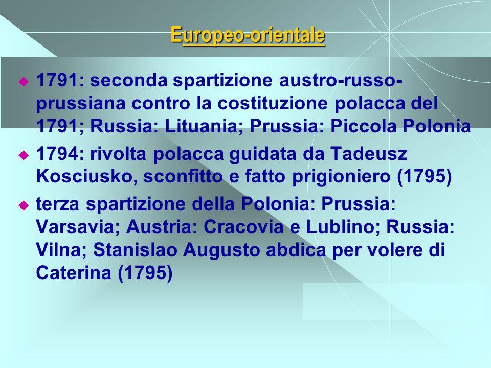 Europeo-orientale 1791: seconda spartizione austro-russo- prussiana contro la costituzione polacca del 1791; Russia: Lituania; Prussia: Piccola Poloni