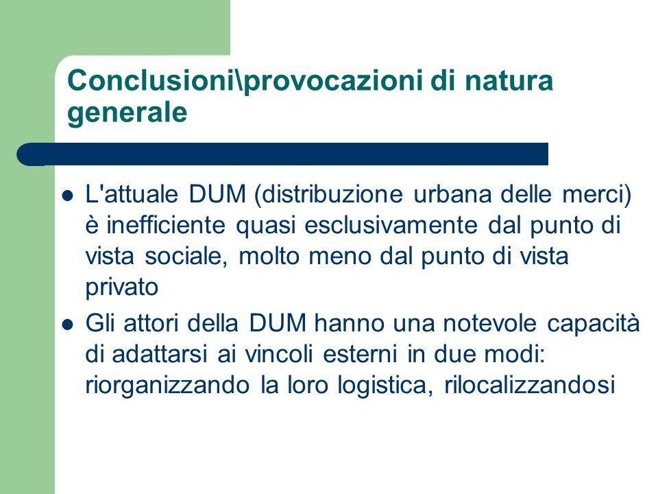 Conclusioni\provocazioni di natura generale L'attuale DUM (distribuzione urbana delle merci) è inefficiente quasi esclusivamente dal punto di vista so