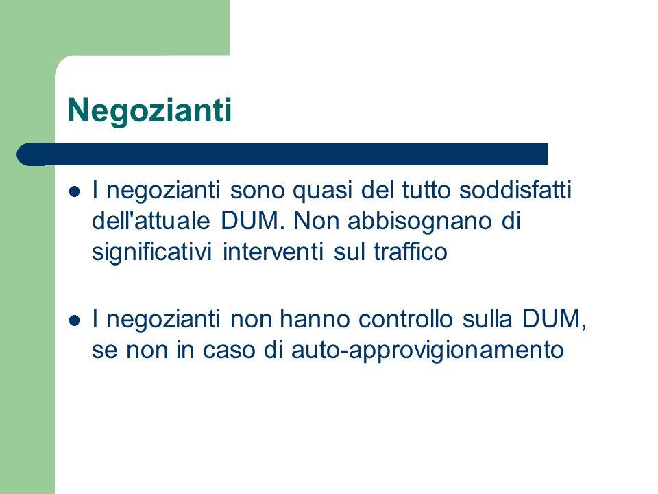 Negozianti I negozianti sono quasi del tutto soddisfatti dell'attuale DUM. Non abbisognano di significativi interventi sul traffico I negozianti non h