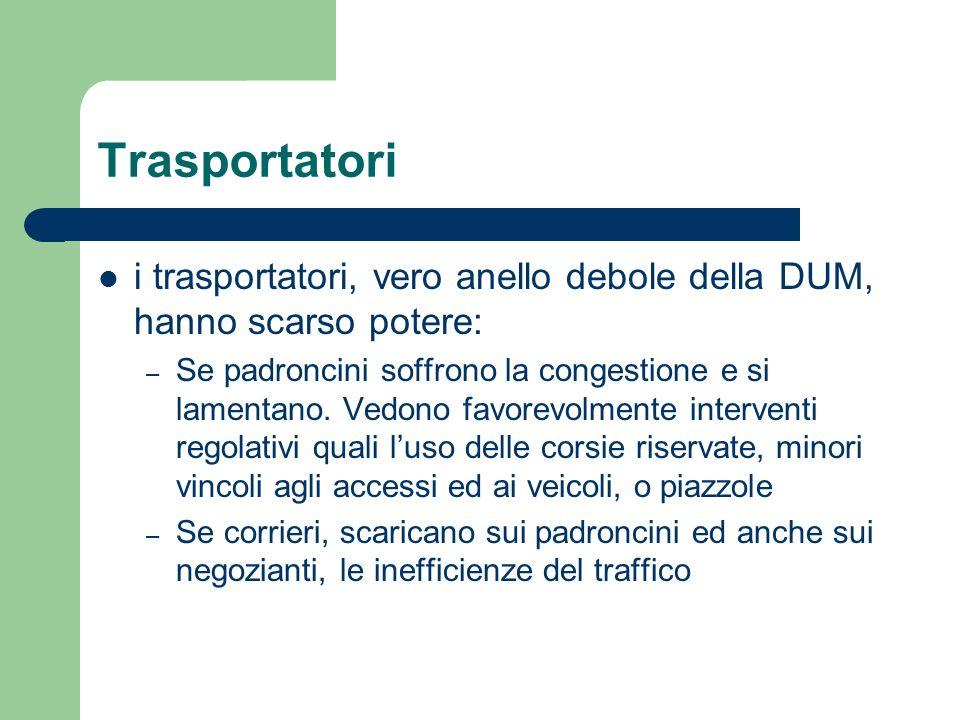 Trasportatori i trasportatori, vero anello debole della DUM, hanno scarso potere: – Se padroncini soffrono la congestione e si lamentano. Vedono favor
