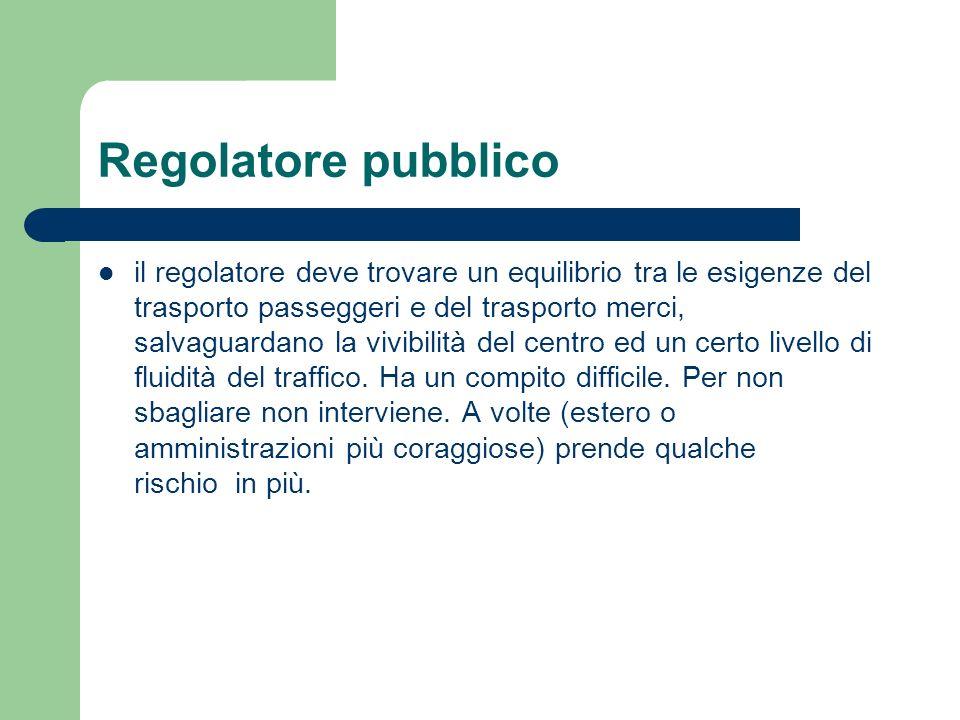 Regolatore pubblico il regolatore deve trovare un equilibrio tra le esigenze del trasporto passeggeri e del trasporto merci, salvaguardano la vivibili