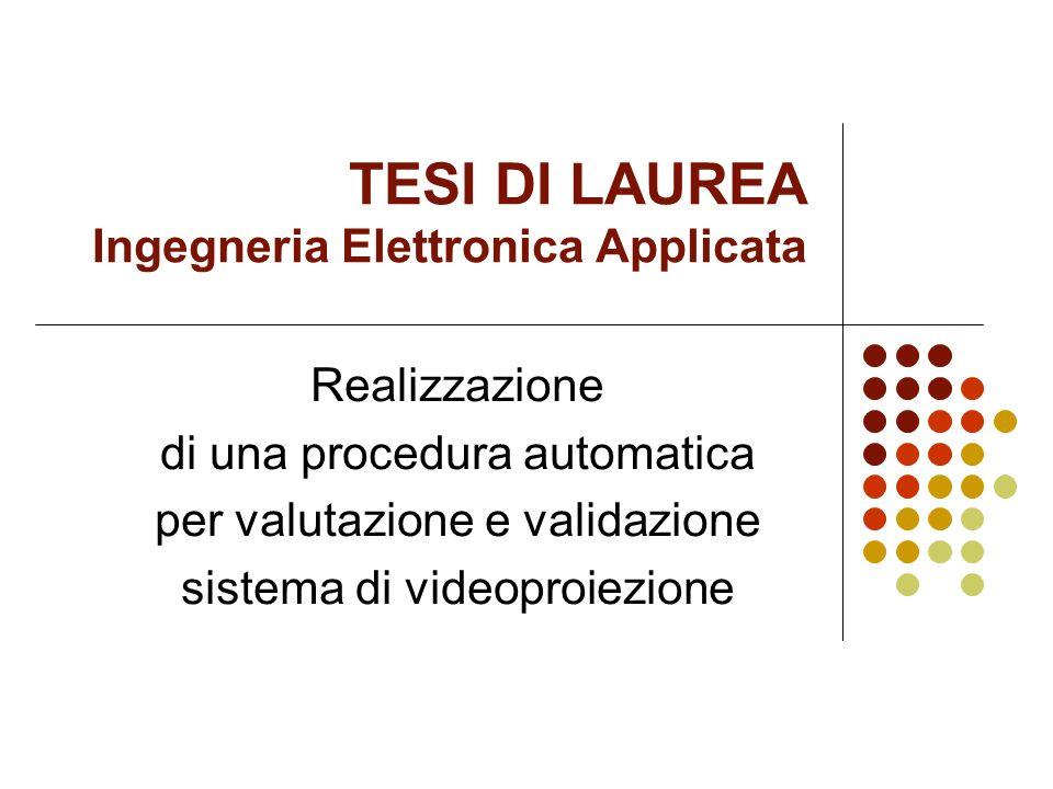TESI DI LAUREA Ingegneria Elettronica Applicata Realizzazione di una procedura automatica per valutazione e validazione sistema di videoproiezione