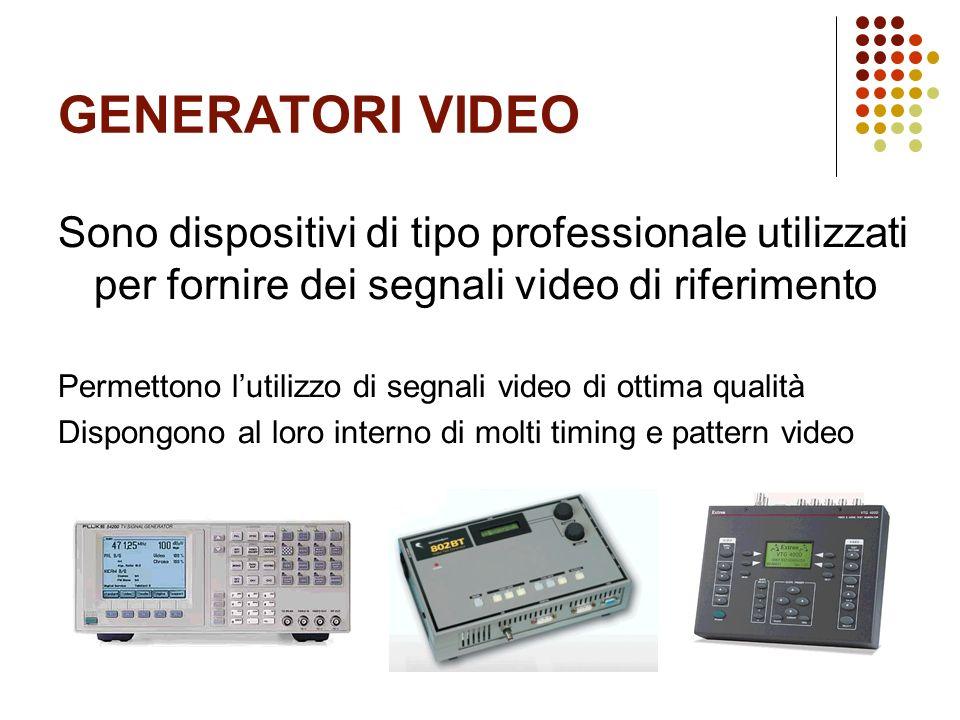 GENERATORI VIDEO Sono dispositivi di tipo professionale utilizzati per fornire dei segnali video di riferimento Permettono lutilizzo di segnali video