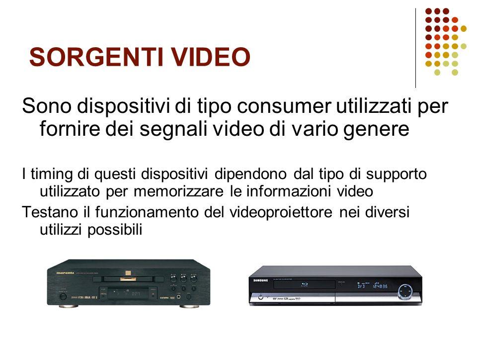 SORGENTI VIDEO Sono dispositivi di tipo consumer utilizzati per fornire dei segnali video di vario genere I timing di questi dispositivi dipendono dal