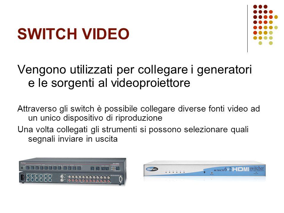 SWITCH VIDEO Vengono utilizzati per collegare i generatori e le sorgenti al videoproiettore Attraverso gli switch è possibile collegare diverse fonti