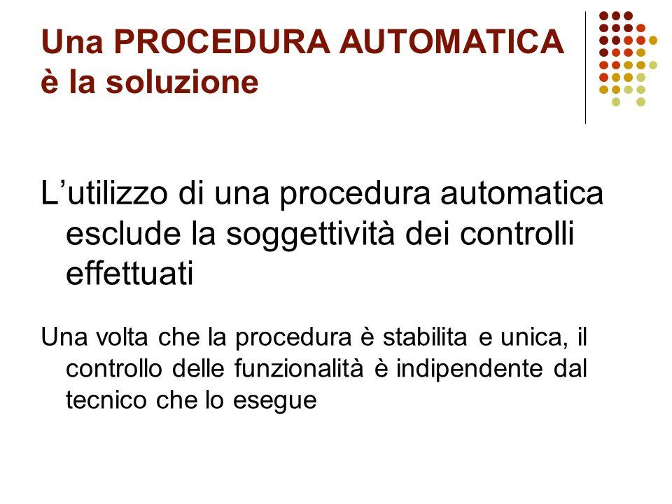 Una PROCEDURA AUTOMATICA è la soluzione Lutilizzo di una procedura automatica esclude la soggettività dei controlli effettuati Una volta che la proced