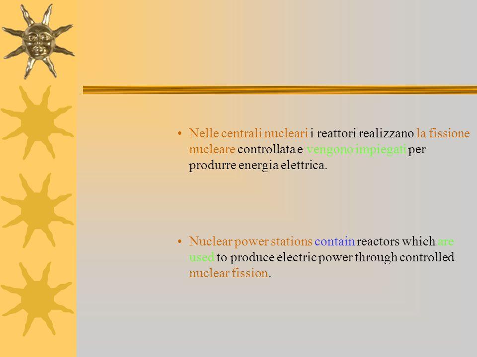 Nelle centrali nucleari i reattori realizzano la fissione nucleare controllata e vengono impiegati per produrre energia elettrica.