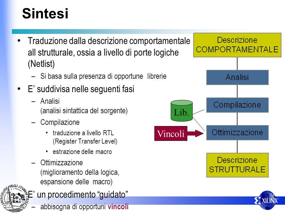 Sintesi Traduzione dalla descrizione comportamentale all strutturale, ossia a livello di porte logiche (Netlist) – Si basa sulla presenza di opportune