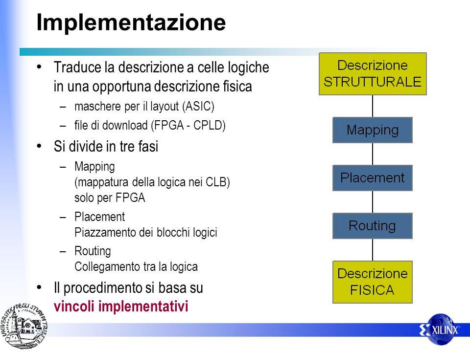 Implementazione Traduce la descrizione a celle logiche in una opportuna descrizione fisica – maschere per il layout (ASIC) – file di download (FPGA -