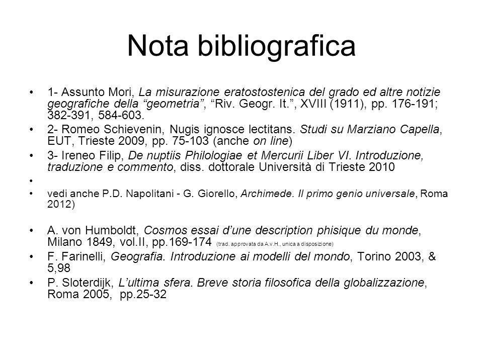 Nota bibliografica 1- Assunto Mori, La misurazione eratostostenica del grado ed altre notizie geografiche della geometria, Riv. Geogr. It., XVIII (191