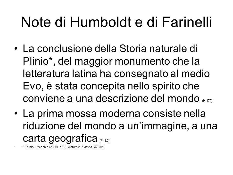 Note di Humboldt e di Farinelli La conclusione della Storia naturale di Plinio*, del maggior monumento che la letteratura latina ha consegnato al medi