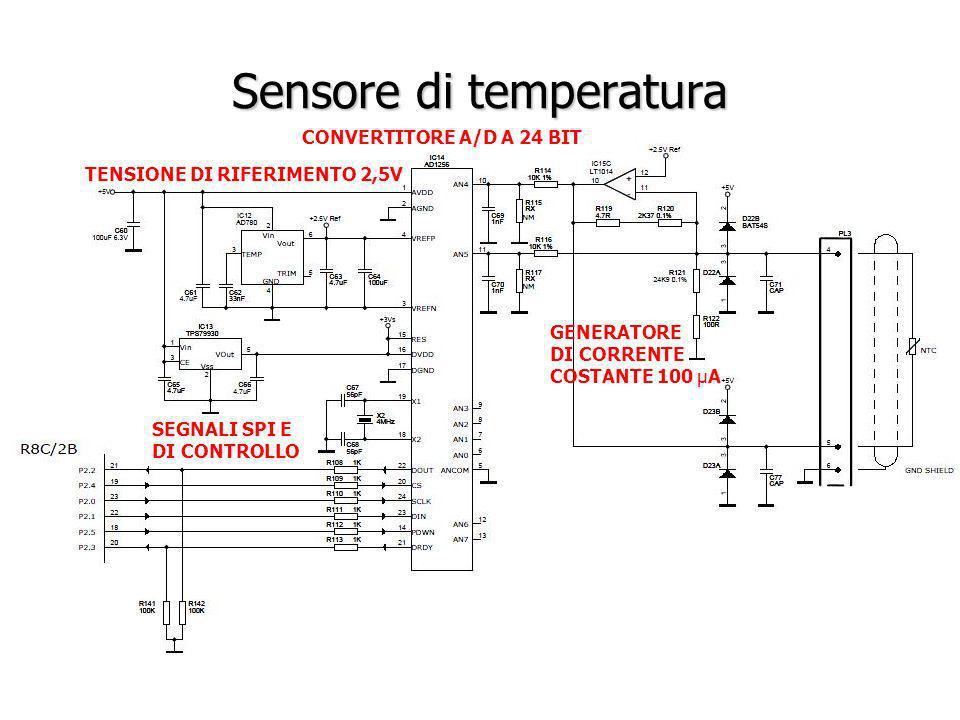Sensore di temperatura CONVERTITORE A/D A 24 BIT TENSIONE DI RIFERIMENTO 2,5V SEGNALI SPI E DI CONTROLLO GENERATORE DI CORRENTE COSTANTE 100 µA