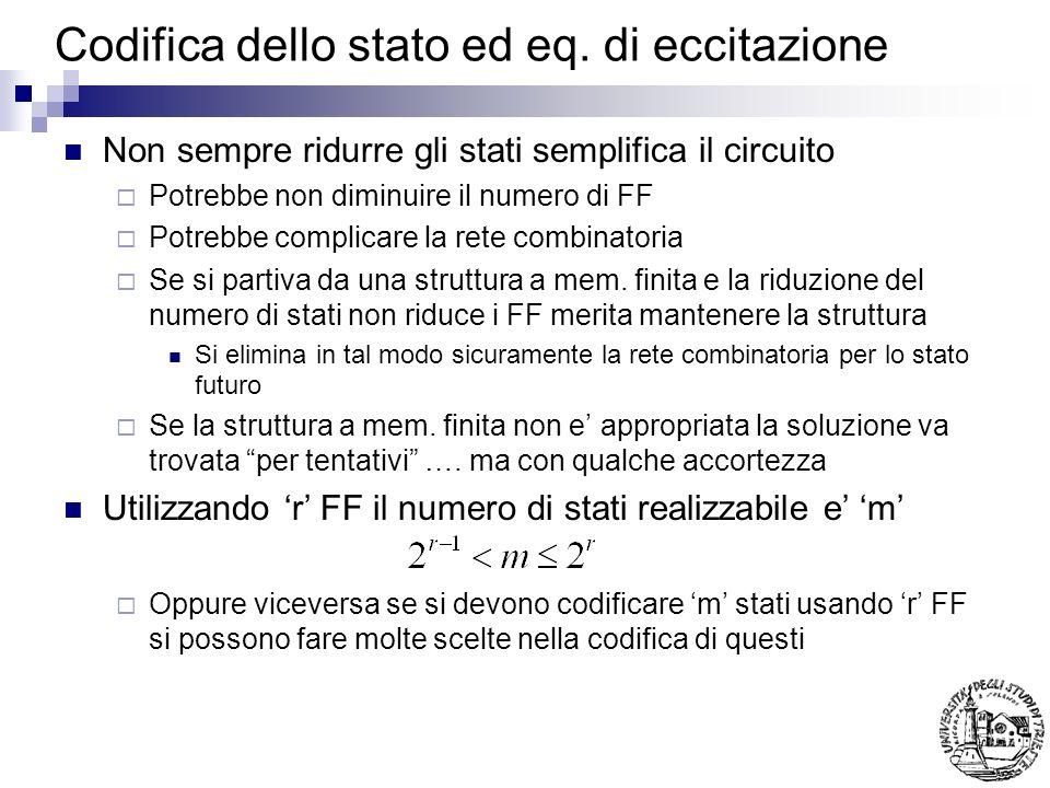 Codifica dello stato ed eq. di eccitazione Non sempre ridurre gli stati semplifica il circuito Potrebbe non diminuire il numero di FF Potrebbe complic