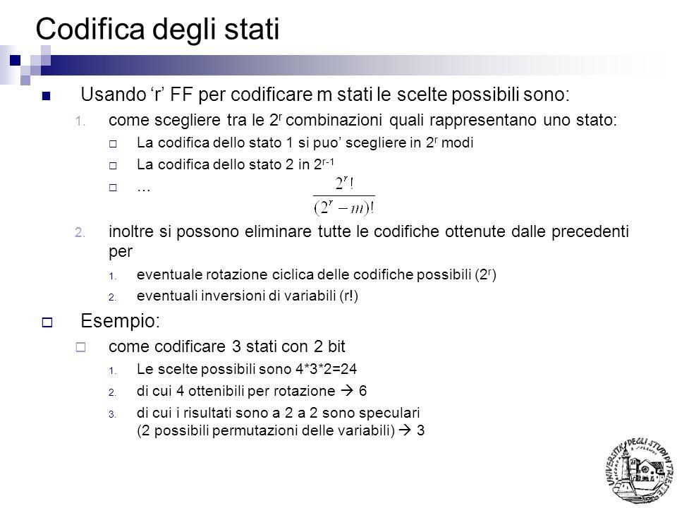 Codifica degli stati Usando r FF per codificare m stati le scelte possibili sono: 1. come scegliere tra le 2 r combinazioni quali rappresentano uno st