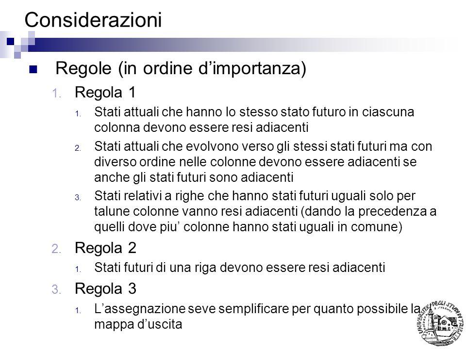 Considerazioni Regole (in ordine dimportanza) 1. Regola 1 1. Stati attuali che hanno lo stesso stato futuro in ciascuna colonna devono essere resi adi