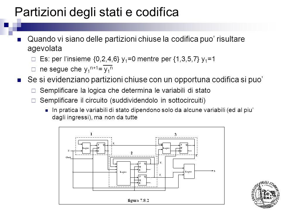 Partizioni degli stati e codifica Quando vi siano delle partizioni chiuse la codifica puo risultare agevolata Es: per linsieme {0,2,4,6} y 1 =0 mentre per {1,3,5,7} y 1 =1 ne segue che y 1 n+1 = y 1 n Se si evidenziano partizioni chiuse con un opportuna codifica si puo Semplificare la logica che determina le variabili di stato Semplificare il circuito (suddividendolo in sottocircuiti) In pratica le variabili di stato dipendono solo da alcune variabili (ed al piu dagli ingressi), ma non da tutte