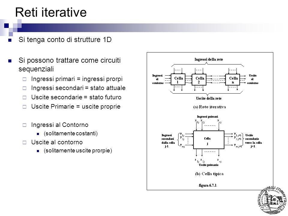 Reti iterative Si tenga conto di strutture 1D Si possono trattare come circuiti sequenziali Ingressi primari = ingressi prorpi Ingressi secondari = st