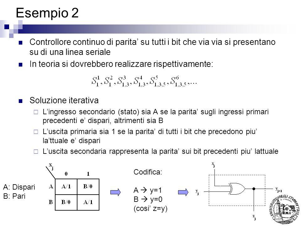 Esempio 2 Controllore continuo di parita su tutti i bit che via via si presentano su di una linea seriale In teoria si dovrebbero realizzare rispettiv