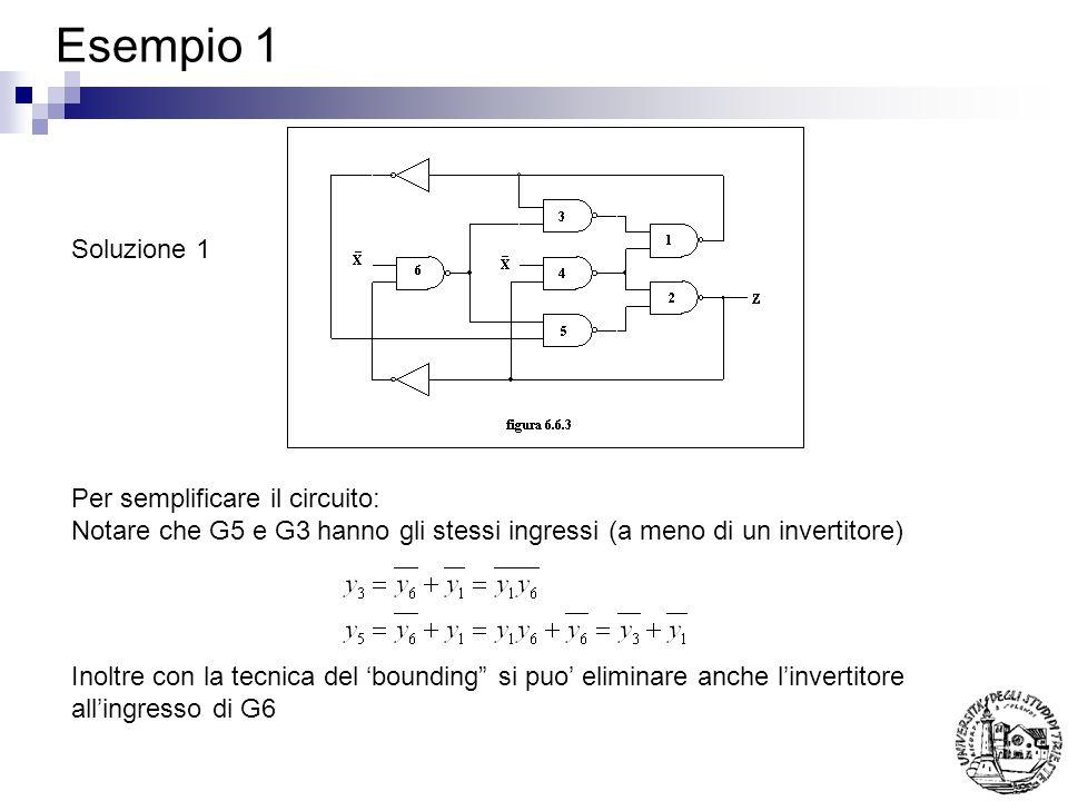 Esempio 1 Soluzione 1 Per semplificare il circuito: Notare che G5 e G3 hanno gli stessi ingressi (a meno di un invertitore) Inoltre con la tecnica del