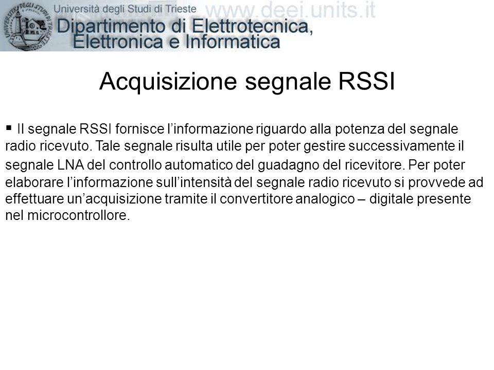 Acquisizione segnale RSSI Il segnale RSSI fornisce linformazione riguardo alla potenza del segnale radio ricevuto. Tale segnale risulta utile per pote