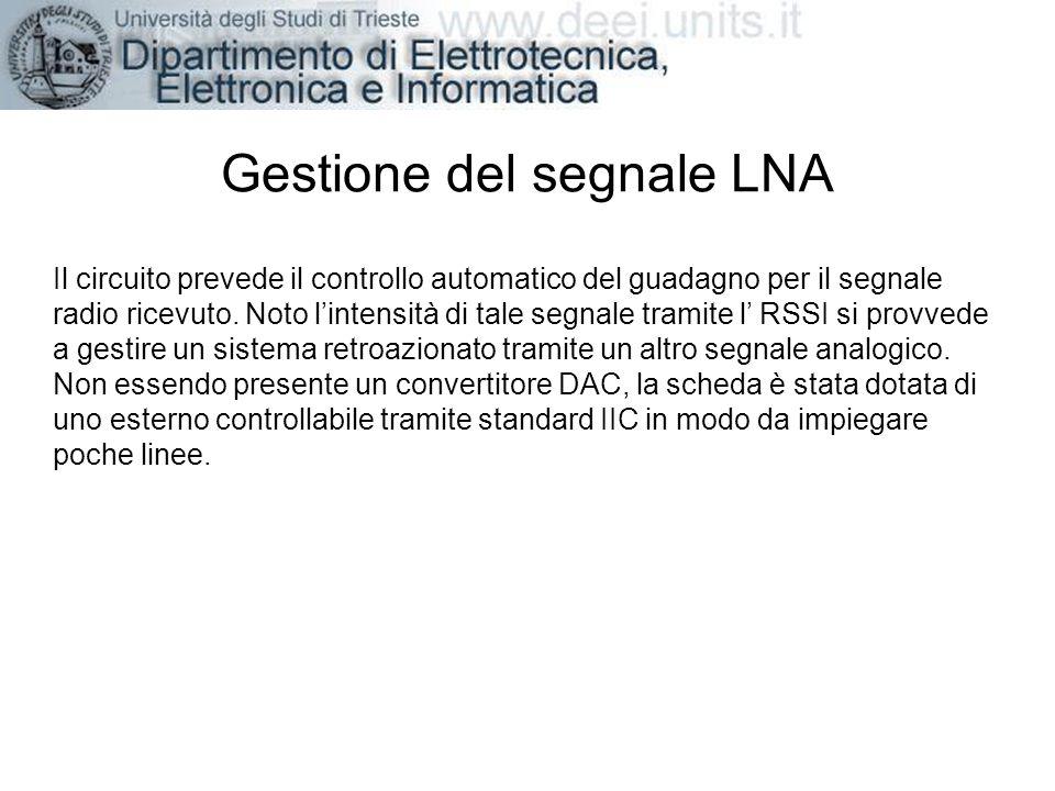 Gestione del segnale LNA Il circuito prevede il controllo automatico del guadagno per il segnale radio ricevuto. Noto lintensità di tale segnale trami