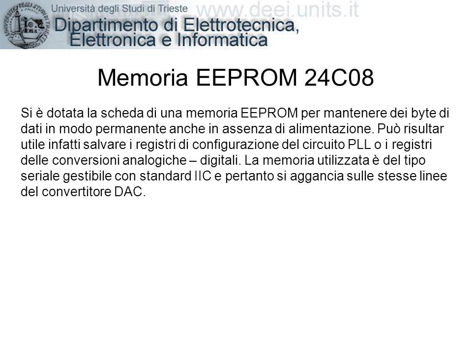 Memoria EEPROM 24C08 Si è dotata la scheda di una memoria EEPROM per mantenere dei byte di dati in modo permanente anche in assenza di alimentazione.