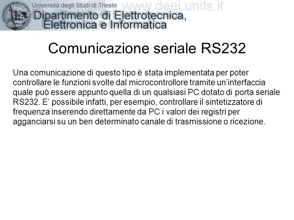Comunicazione seriale RS232 Una comunicazione di questo tipo è stata implementata per poter controllare le funzioni svolte dal microcontrollore tramit