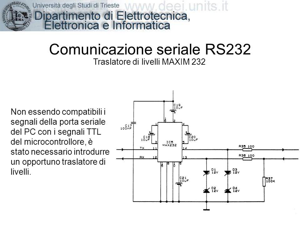 Comunicazione seriale RS232 Traslatore di livelli MAXIM 232 Non essendo compatibili i segnali della porta seriale del PC con i segnali TTL del microco