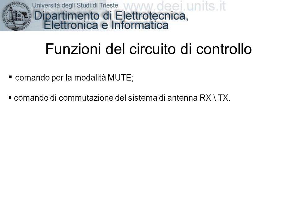 Funzioni del circuito di controllo comando per la modalità MUTE; comando di commutazione del sistema di antenna RX \ TX.