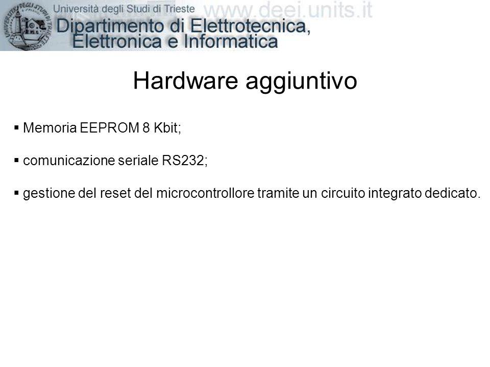 Hardware aggiuntivo Memoria EEPROM 8 Kbit; comunicazione seriale RS232; gestione del reset del microcontrollore tramite un circuito integrato dedicato