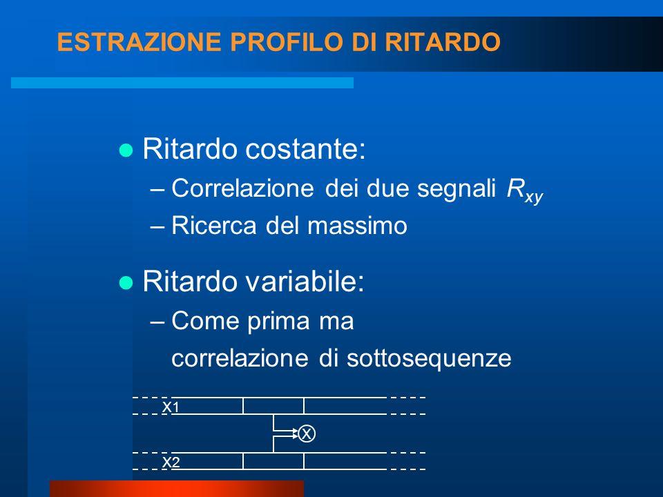 ESTRAZIONE PROFILO DI RITARDO Ritardo variabile: –Come prima ma correlazione di sottosequenze Ritardo costante: –Correlazione dei due segnali R xy –Ricerca del massimo X1 X2 X