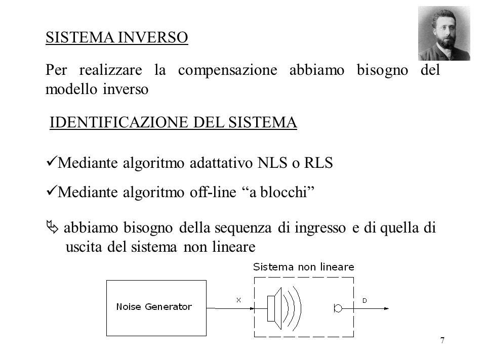 7 Mediante algoritmo adattativo NLS o RLS Mediante algoritmo off-line a blocchi SISTEMA INVERSO Per realizzare la compensazione abbiamo bisogno del modello inverso abbiamo bisogno della sequenza di ingresso e di quella di uscita del sistema non lineare IDENTIFICAZIONE DEL SISTEMA