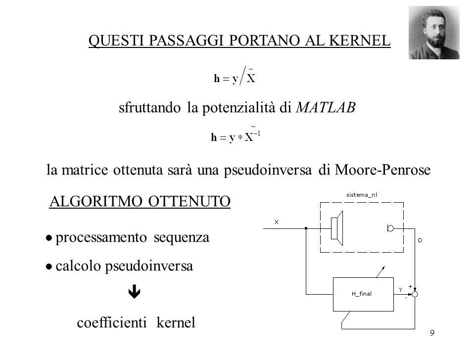 9 QUESTI PASSAGGI PORTANO AL KERNEL sfruttando la potenzialità di MATLAB la matrice ottenuta sarà una pseudoinversa di Moore-Penrose ALGORITMO OTTENUTO processamento sequenza calcolo pseudoinversa coefficienti kernel