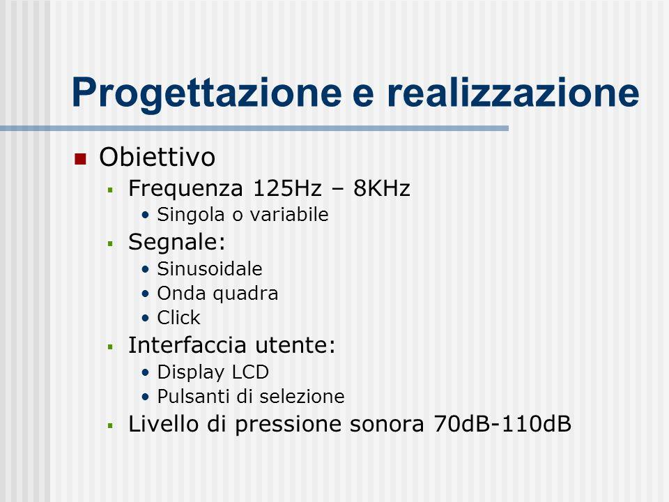 Progettazione e realizzazione Obiettivo Frequenza 125Hz – 8KHz Singola o variabile Segnale: Sinusoidale Onda quadra Click Interfaccia utente: Display