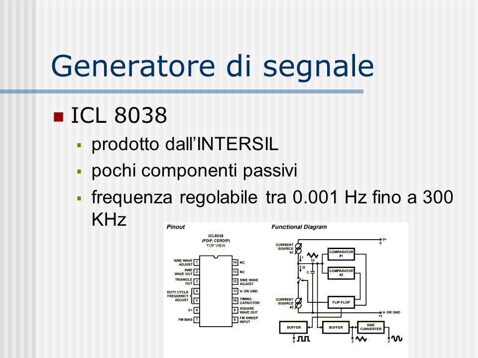 Generatore di segnale ICL 8038 prodotto dallINTERSIL pochi componenti passivi frequenza regolabile tra 0.001 Hz fino a 300 KHz