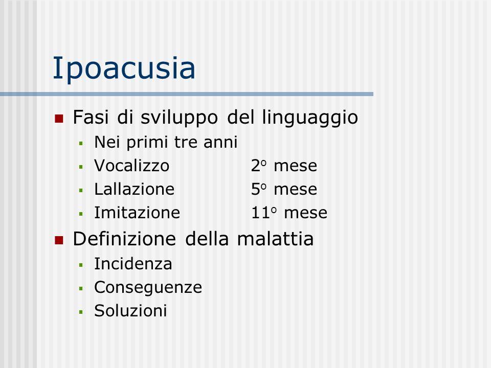 Ipoacusia Fasi di sviluppo del linguaggio Nei primi tre anni Vocalizzo 2 o mese Lallazione 5 o mese Imitazione11 o mese Definizione della malattia Inc