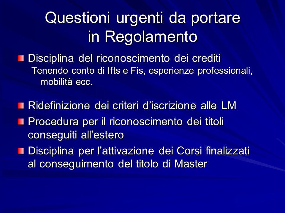 Questioni urgenti da portare in Regolamento Disciplina del riconoscimento dei crediti Tenendo conto di Ifts e Fis, esperienze professionali, mobilità