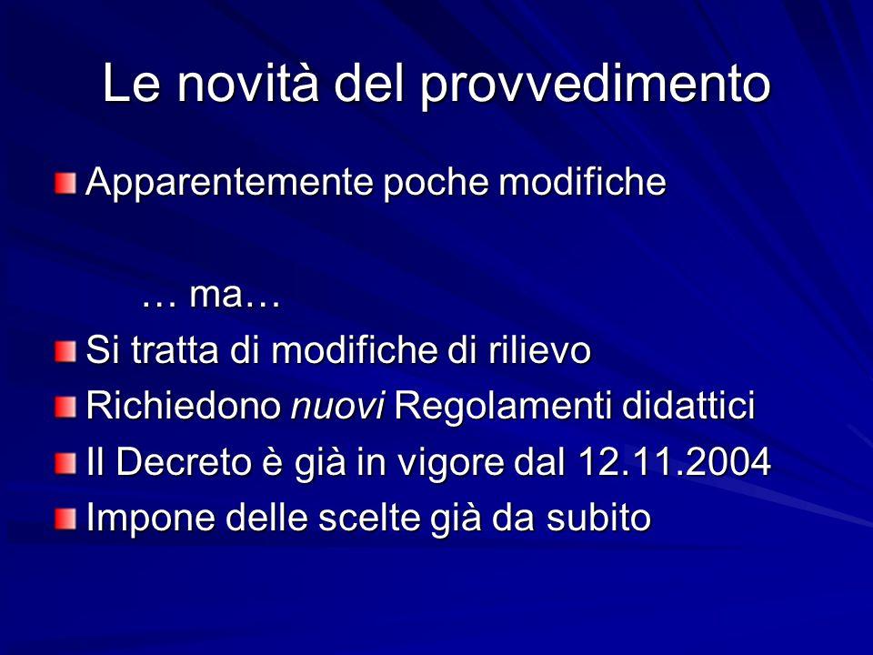 Decorrenza per altre materie Dal 12 novembre 2004 e comunque dallA.A.