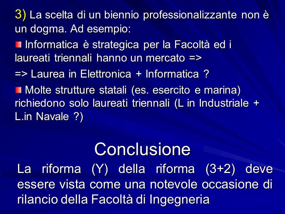3) La scelta di un biennio professionalizzante non è un dogma. Ad esempio: Informatica è strategica per la Facoltà ed i laureati triennali hanno un me