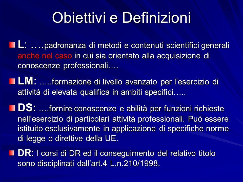 Obiettivi e Definizioni L: …. padronanza di metodi e contenuti scientifici generali anche nel caso in cui sia orientato alla acquisizione di conoscenz