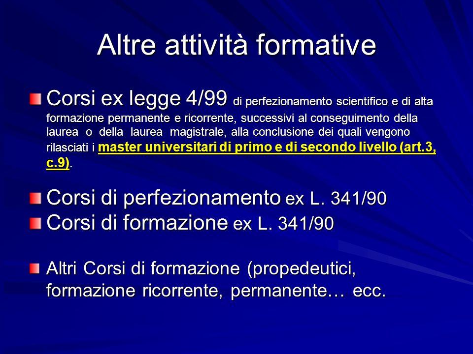 Altre attività formative Corsi ex legge 4/99 di perfezionamento scientifico e di alta formazione permanente e ricorrente, successivi al conseguimento