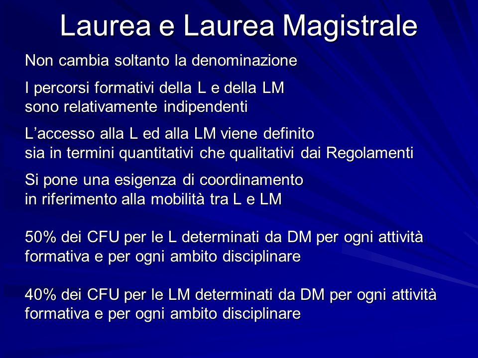 Laurea e Laurea Magistrale Non cambia soltanto la denominazione I percorsi formativi della L e della LM sono relativamente indipendenti Laccesso alla