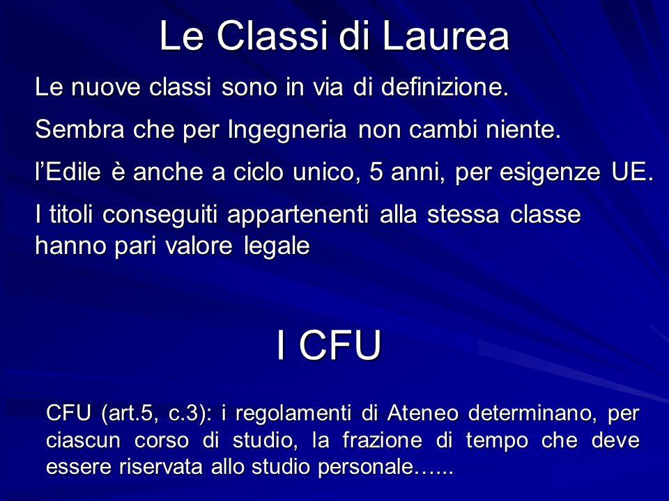 Le Classi di Laurea Le nuove classi sono in via di definizione. Sembra che per Ingegneria non cambi niente. lEdile è anche a ciclo unico, 5 anni, per