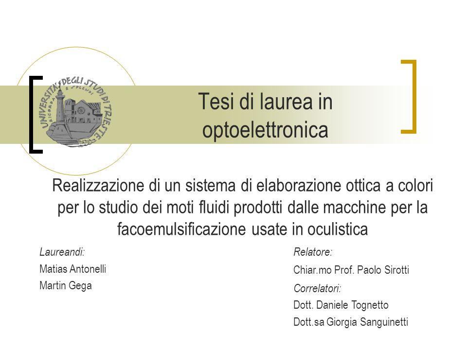 Tesi di laurea in optoelettronica Realizzazione di un sistema di elaborazione ottica a colori per lo studio dei moti fluidi prodotti dalle macchine pe