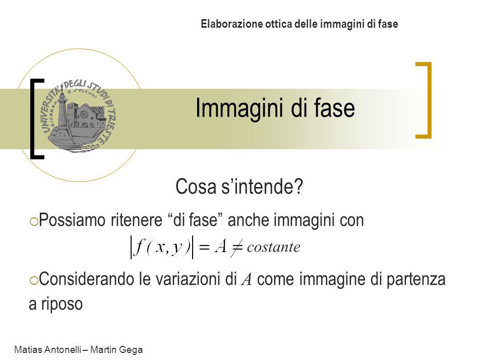Immagini di fase Elaborazione ottica delle immagini di fase Cosa sintende? Possiamo ritenere di fase anche immagini con Considerando le variazioni di