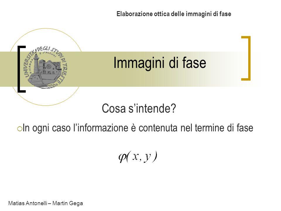 Immagini di fase Elaborazione ottica delle immagini di fase Cosa sintende? In ogni caso linformazione è contenuta nel termine di fase Matias Antonelli