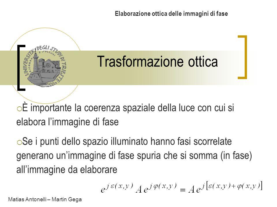Trasformazione ottica Elaborazione ottica delle immagini di fase È importante la coerenza spaziale della luce con cui si elabora limmagine di fase Se