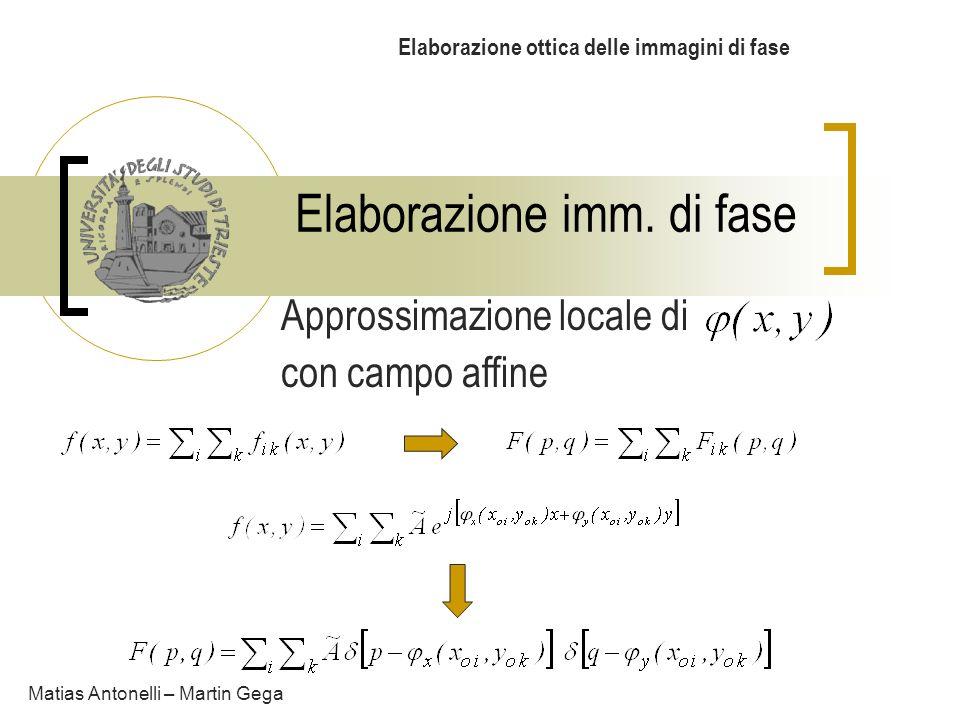 Elaborazione imm. di fase Elaborazione ottica delle immagini di fase Matias Antonelli – Martin Gega Approssimazione locale di con campo affine
